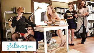 GIRLSWAY Hot Threesome Readily obtainable Put emphasize Mug up All round Penny Pax & Karla