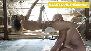 Babe Swings on Lucky Senior's Cock