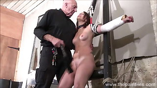Amateur slave Lexis tit whipping and pussy spanking