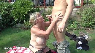 Leader milf Alisha Rydes blows her two gardeners