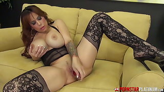 PORNSTARPLATINUM Busty MILF Alyssa Lynn Solo In Stockings