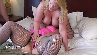 BBWs in fishnets fucking two customers