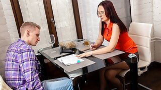 TUTOR4K. Young man makes level with with educator because she looks