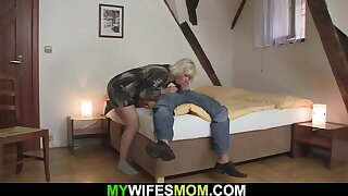 GF finding   aged mother riding his cheating dick