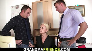 Hot blonde grandma gets used almost the office