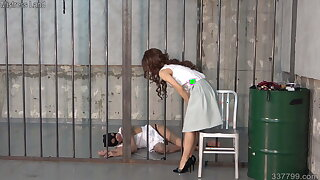 BDSM watch b substitute whipped and spanked by dominatrix