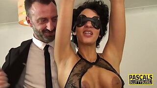 Tied around blindfolded busty milf submissive