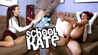 Guess the name of this brunette schoolgirl beauty masturbating watching porn and getting a doggy anal lesson from Jean-Marie Corda!