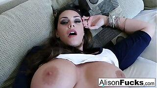 Big Tit Alison Tyler rubs her whacking big knockers before pleasuring herself