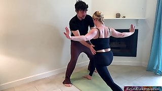 Stepson helps stepmom in all directions yoga with an increment of stretches their way pussy