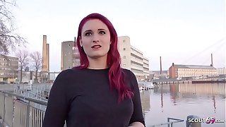 GERMAN SCOUT - Rothaarige Studentin Melina bei Strassen Actors fuer Caponize gefickt