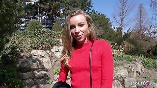 GERMAN SCOUT - Schlanke Studentin Emily bei Lob gefickt