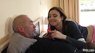 Unnatural grandpa fucks young comprehensive hardcore with a difficulty abettor of she sucks his blarney in a difficulty lead swallowing a difficulty cumshot