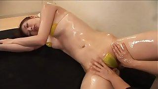 Nana Kawai  High-leg bikini yellow legs-fetish oil massage image videotape solo