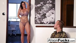 Alison Tyler drains Chad's cock with her mouth